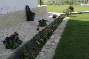 In timp ce plantam petuniile langa casa