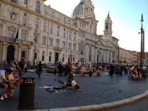 Piazza Navona cu Palazzo Pamphilj si Biserica Santa Maria dell'Anima