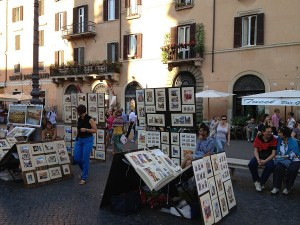 Piazza Campo Dei Fiori - dimineata piata de fructe si flori, seara galerie de arta