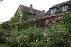 O parte a casei este imbracata in iedera, trandafiri si glicina